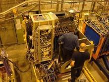 CALICE prototype calorimeters in a test beam at CERN