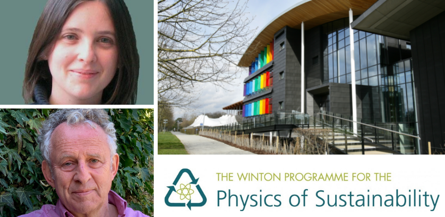 From top left, clockwise: Sian Dutton, the Maxwell Centre, the Winton programme for the Physics of Sustainability logo, Prof. Richard Friend