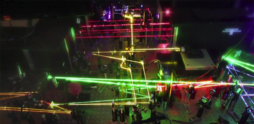Lasers in the Optoelectronics Lab.