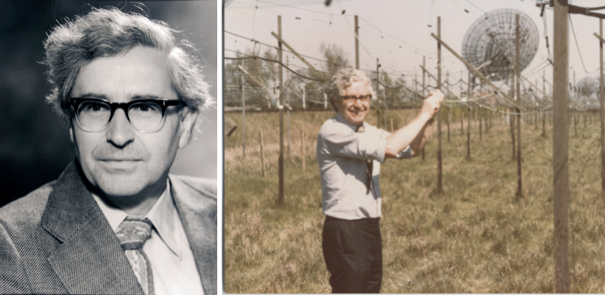 From our photo archives: Professor Tony Hewish constructing a radio telescope array.